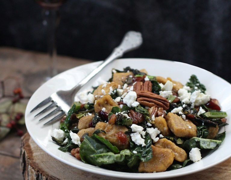 Heirloom Whole Wheat Pumpkin Gnocchi with Browned Sage Butter, Cranberries, Pecans & Goat Cheese