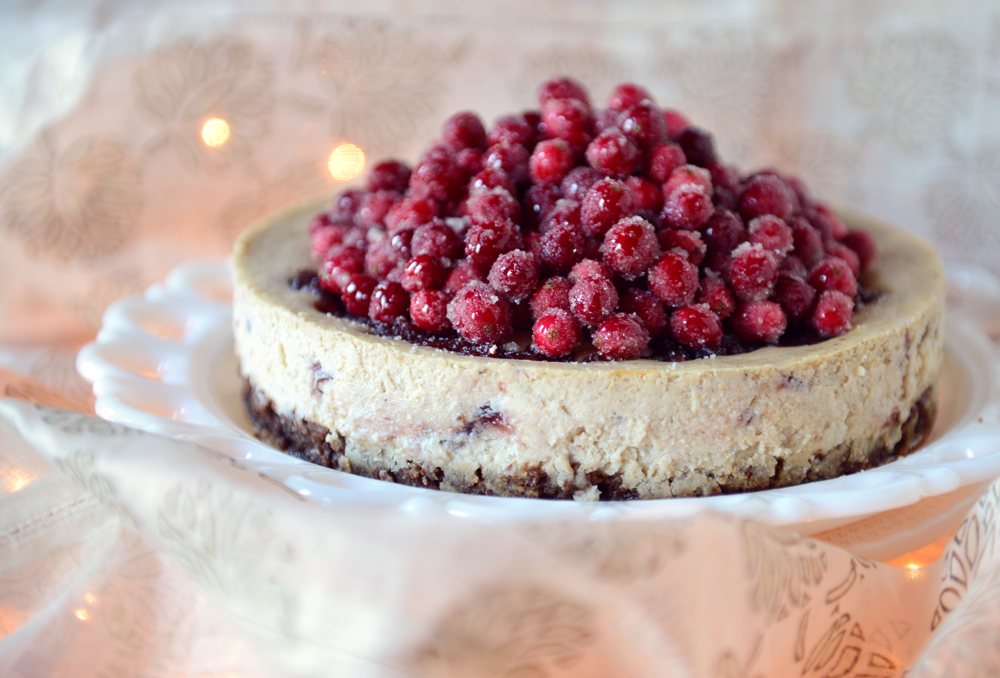 Cranberry Eggnog Cheesecake with a Whole Wheat Brownie Crust // www.WithTheGrains.com