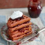 Roasted Beet Waffles with Sour Cherry Jam & Whipped Coconut Milk