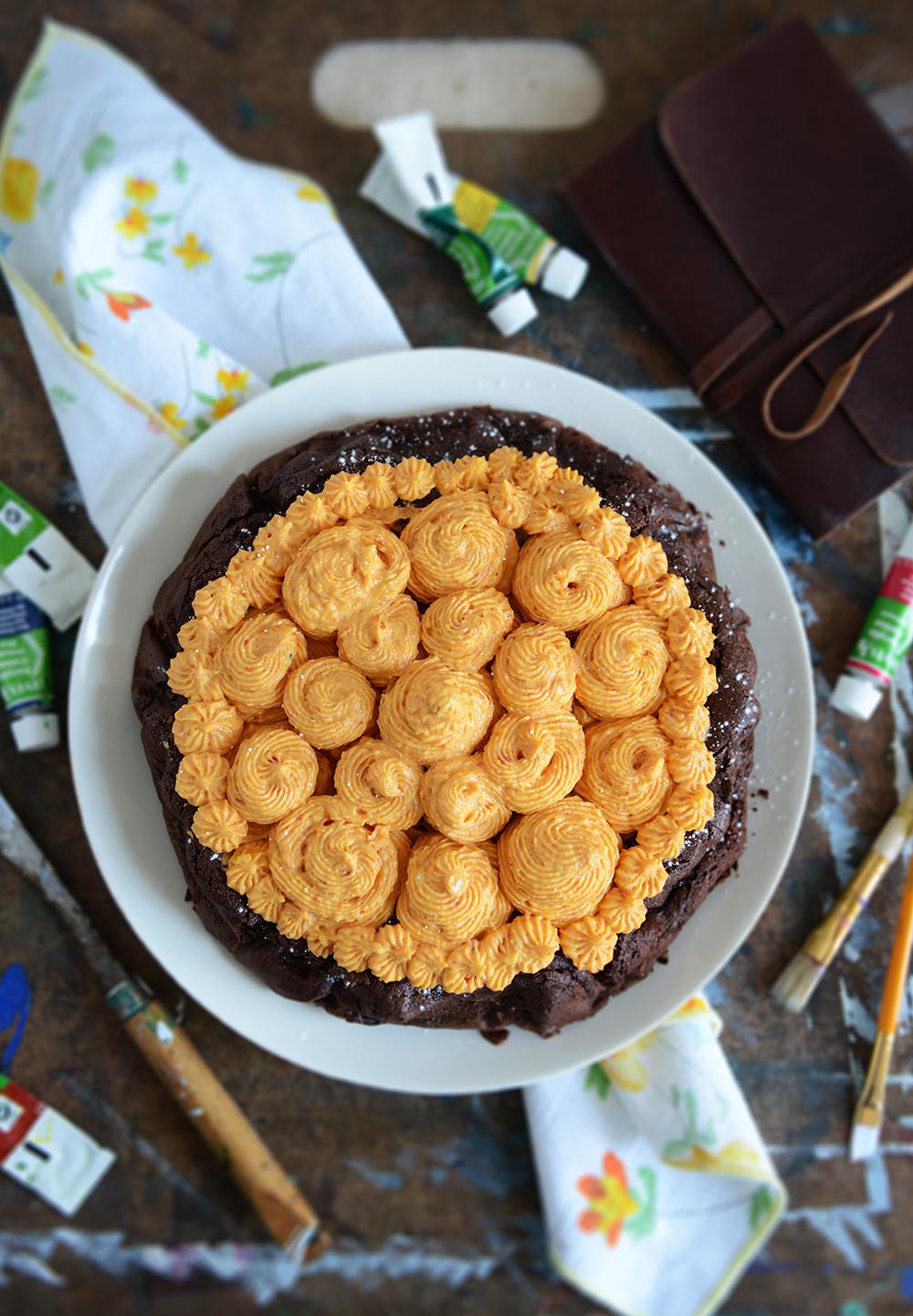 Flourless Dark Chocolate Torte with Roasted Carrot Buttercream