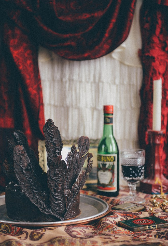 A Flapper Inspired Red Wine & Raspberry Chocolate Cake // www.WithTheGrains.com
