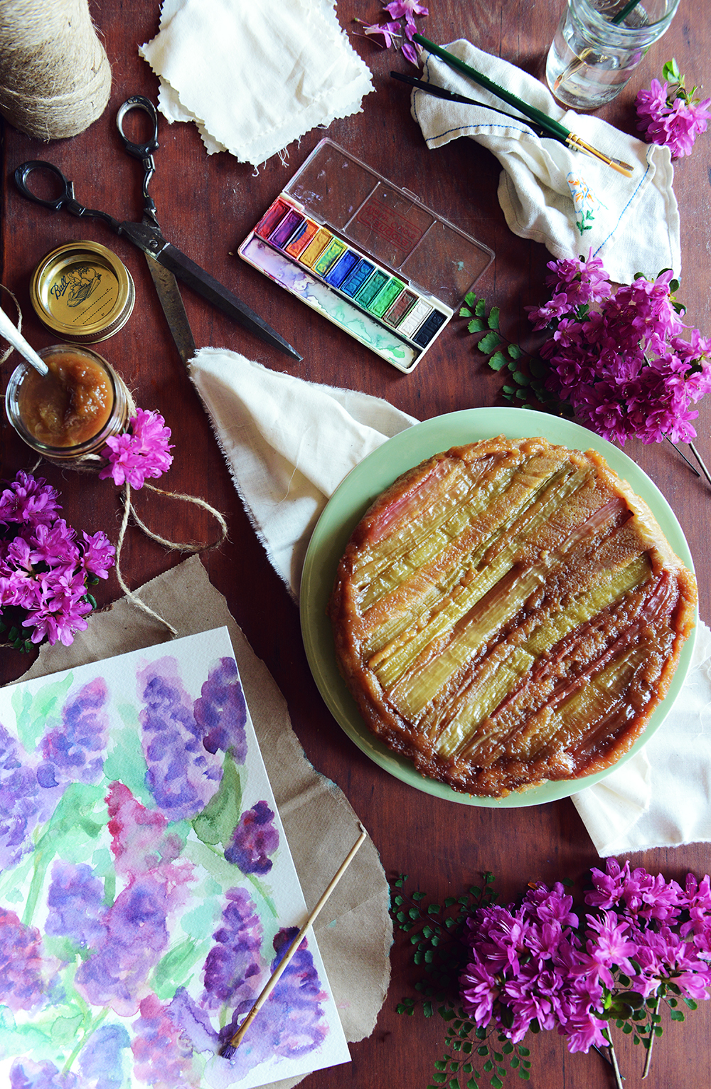 An Ode to Motherhood: Whole Wheat Rhubarb Upside Down Cake & Rhubarb Compote