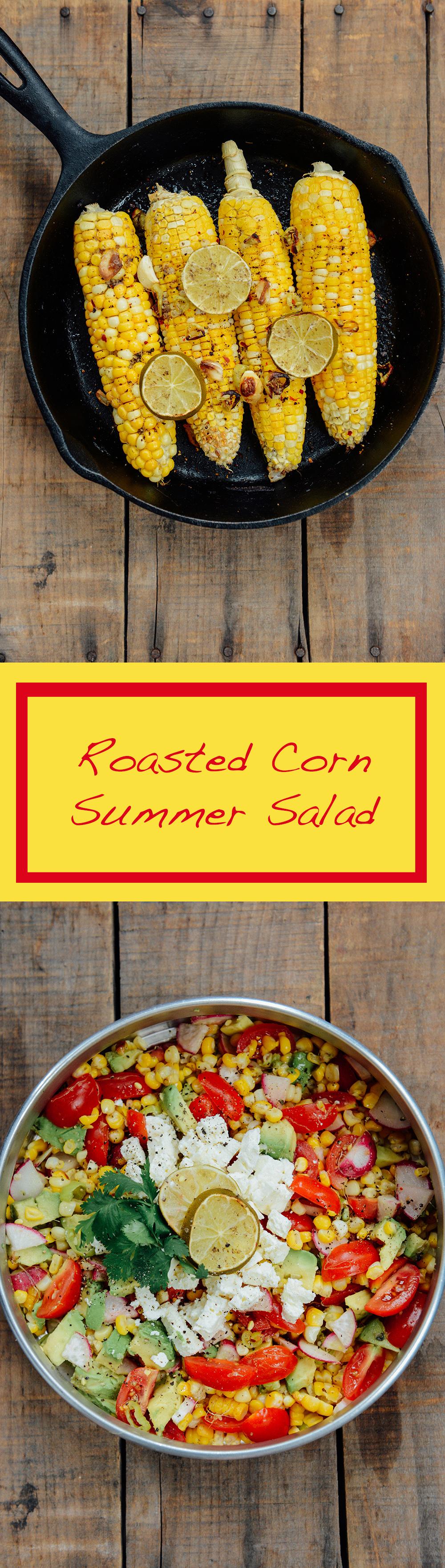 Roasted Corn Summer Salad // www.WithTheGrains.com
