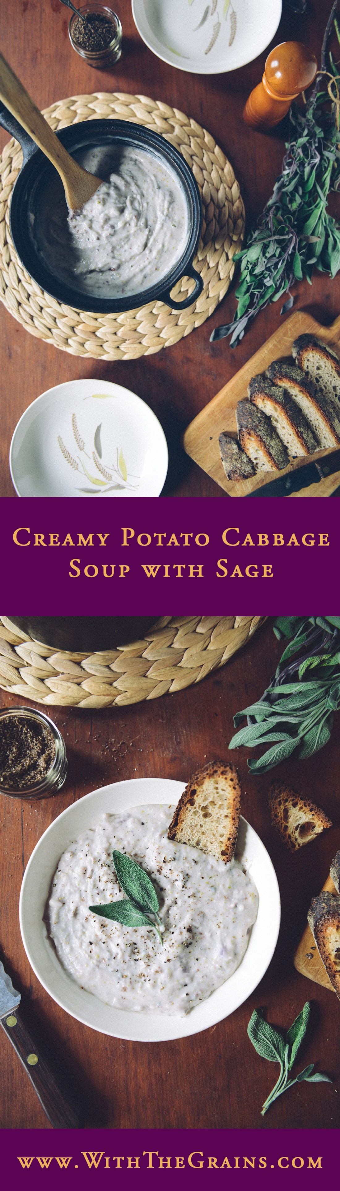Creamy Potato Cabbage Soup with Sage // www.WithTheGrains.com