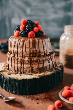 Whole Wheat Carob Apricot Cake with Chocolate Frosting & Chocolate Ganache // www.WithTheGrains.com