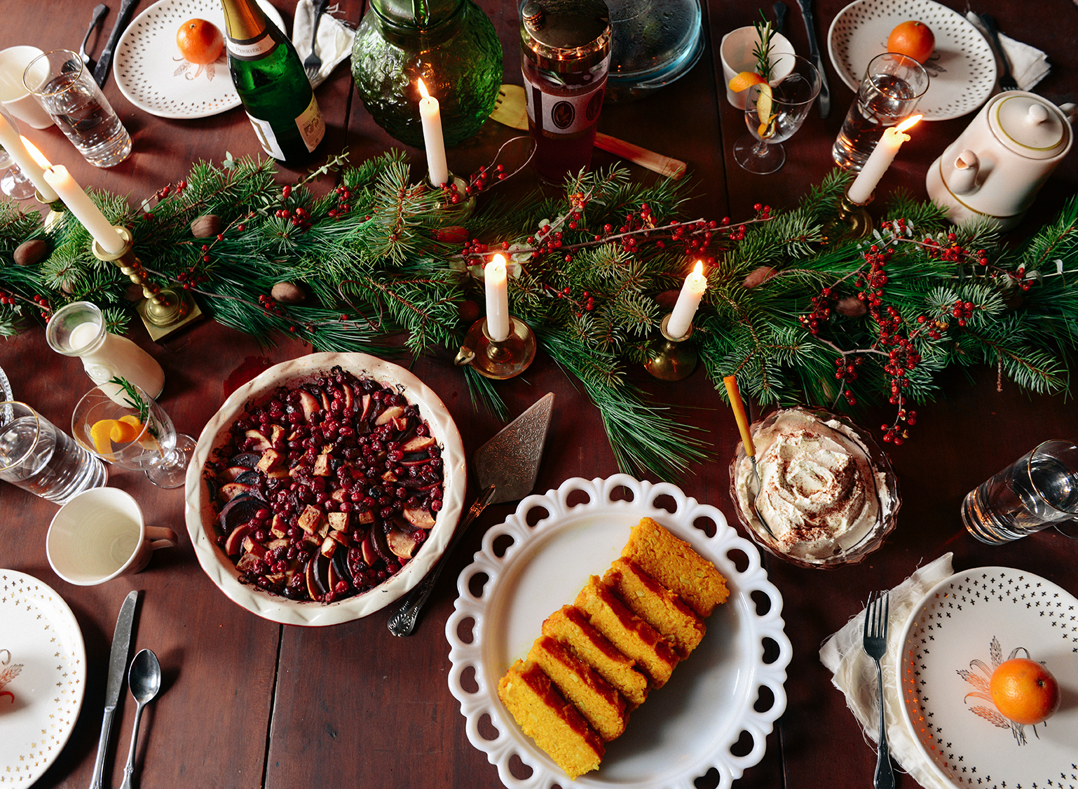 Butternut Squash Polenta w/ Stewed Fruit & Whipped Mascarpone for a Wintry Brunch // www.WithTheGrains.com