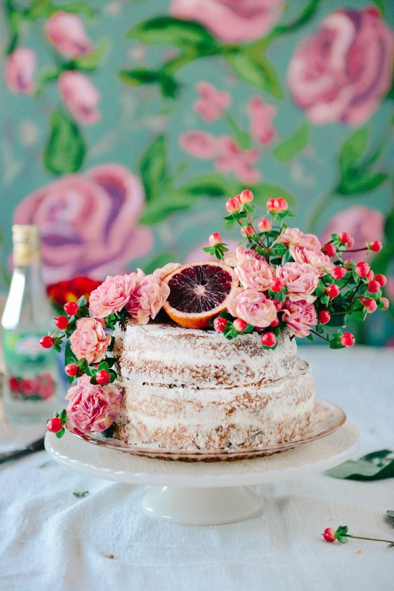 Whole Grain Blood Orange & Rose Water Layer Cake