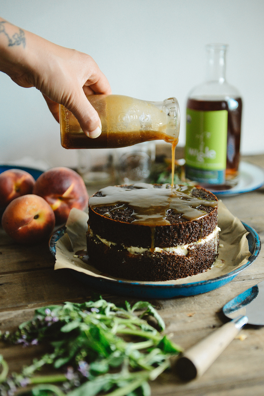 Spelt Peach Whiskey Cake with Smoked Sea Salt Caramel & Caramelized Peaches // www.WithTheGrains.com