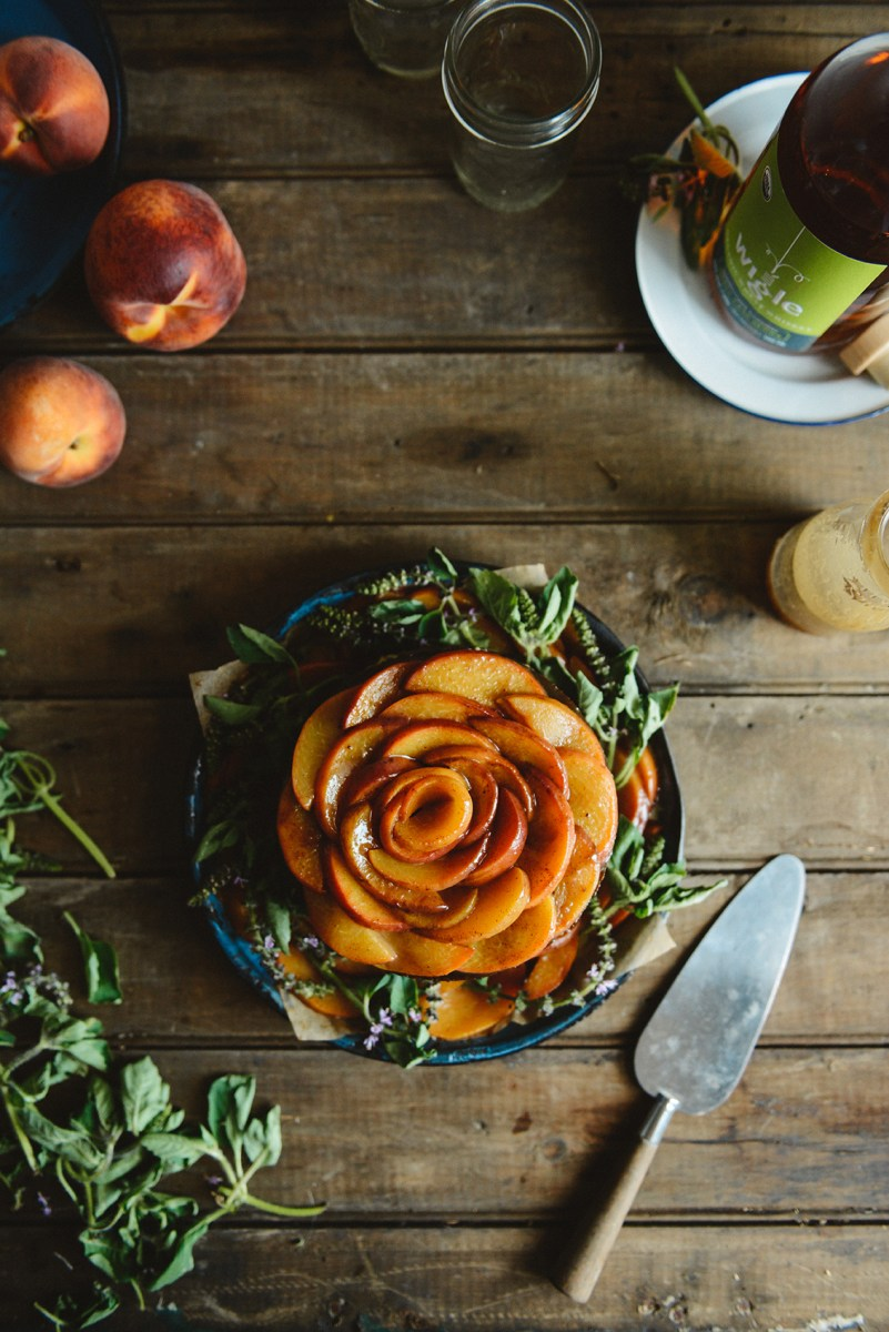 Peach Whiskey Spelt Cake with Smoked Sea Salt Caramel & Caramelized Peaches