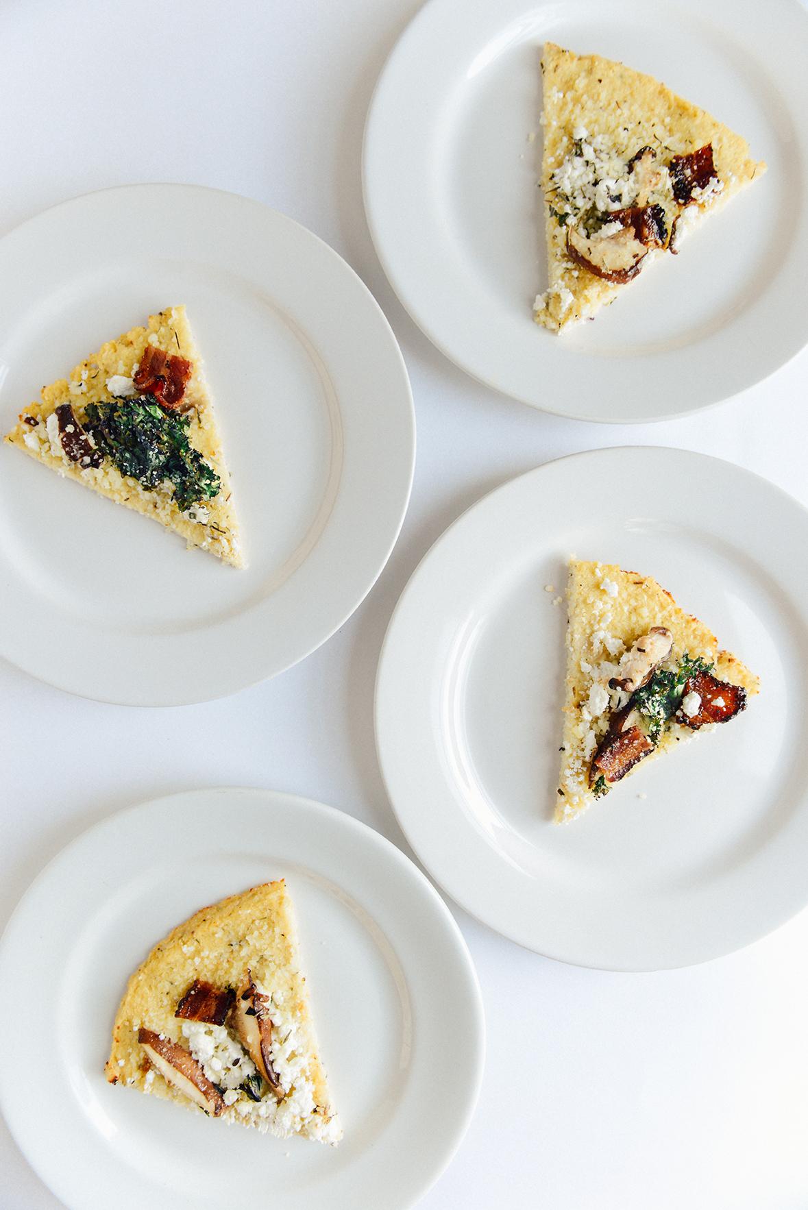 Cauliflower Crust Pizza with Bacon, Mushrooms & Kale (Gluten Free)