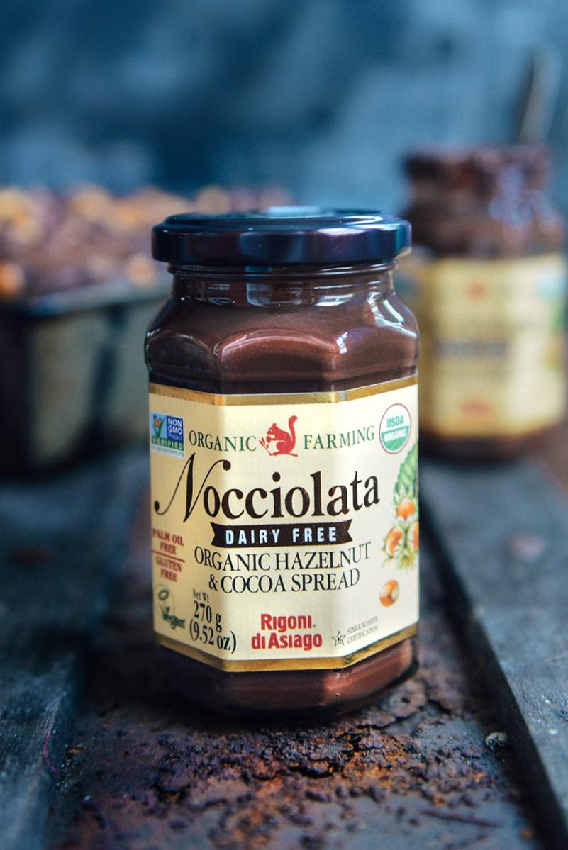 Whole Grain Chocolate Hazelnut Swirl Banana Bread featuring Nocciolata
