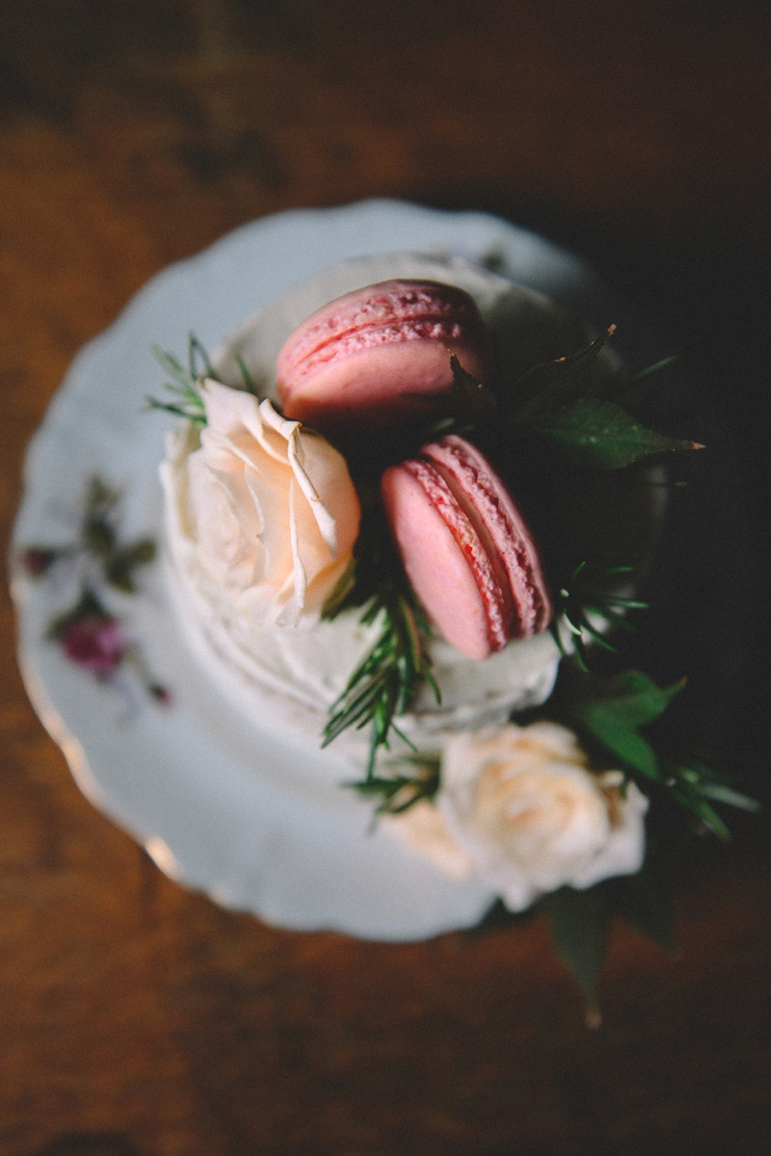 Rose Water Chocolate Chunk Layer Cake with Rose Water Frosting & Rose Macarons // www.WithTheGrains.com
