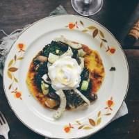 "Socca: A Chickpea Flour Savory Pancake (aka a ""Cromlet"") with Fennel Olive Salad & Yogurt Sauce"