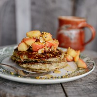 Honey Buckwheat Pancakes with Caramelized Apples & Bee Pollen