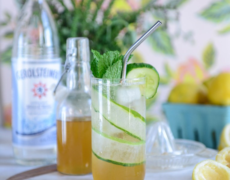 Sparkling Cucumber Mint Lemonade (A Healthy Soda Alternative)