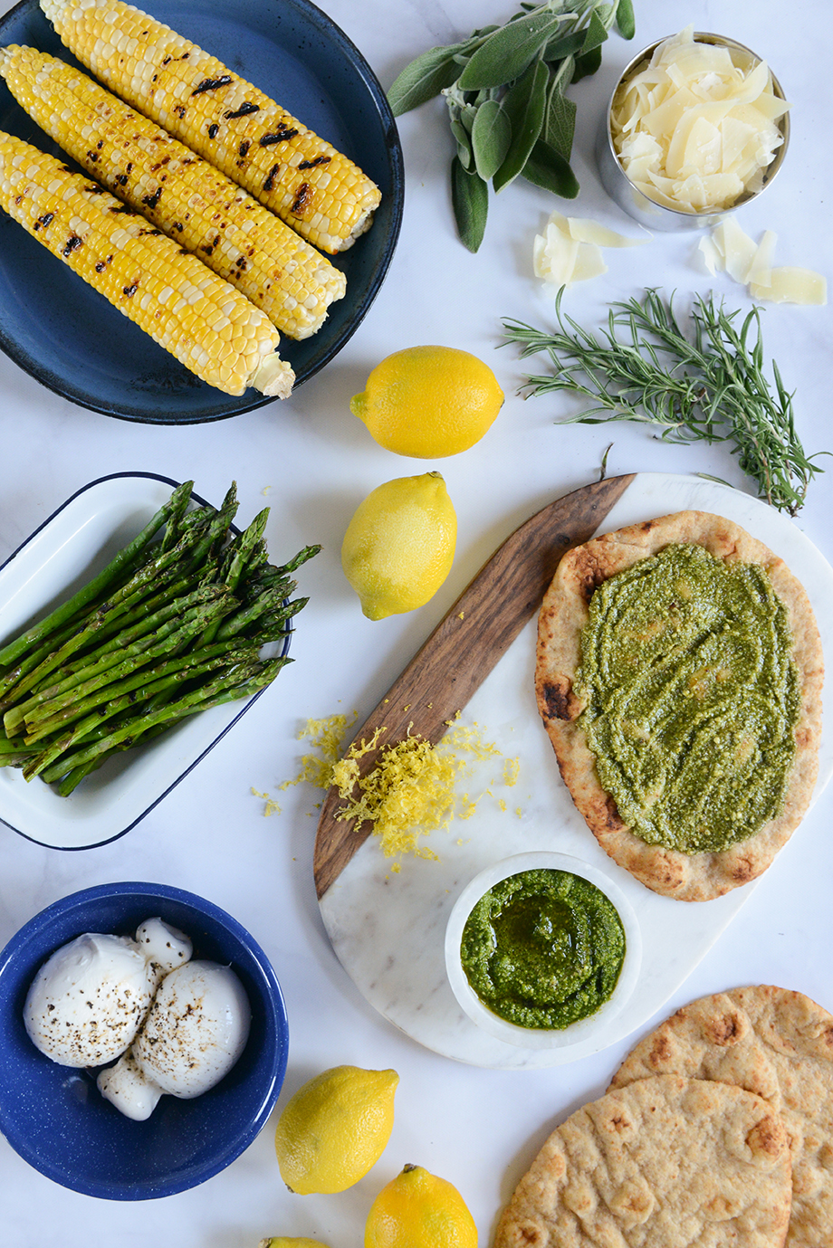 Grilled Corn Pizza with Burrata & Herbs// www.WithTheGrains.com