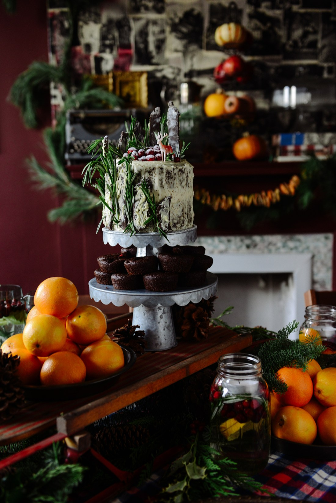 Chocolate Gingerbread Cake with Chocolate Gingerbread Twigs // www.WithTheGrains.com