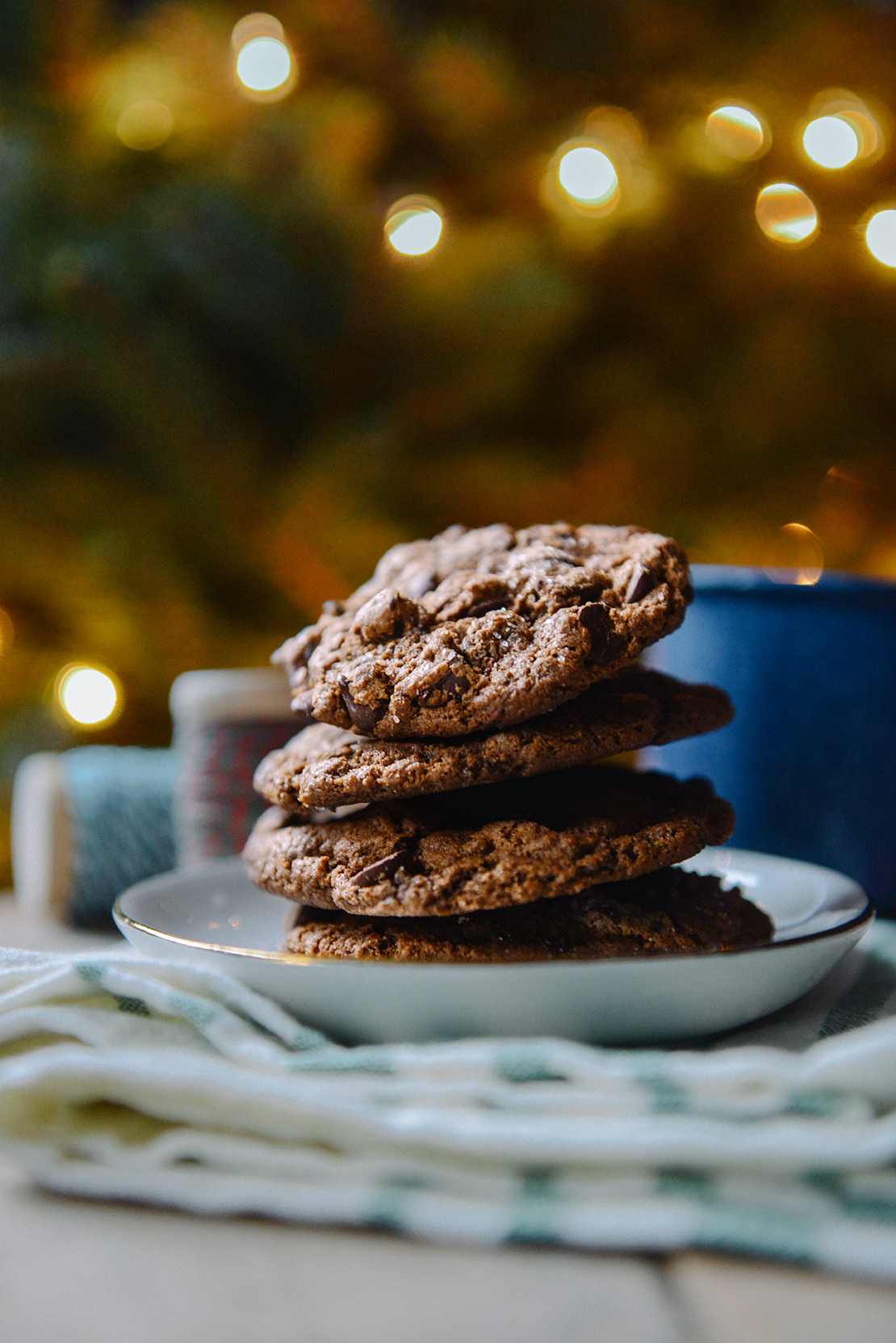Whole Grain Double Chocolate Peppermint Cookies // www.WithTheGrains.com
