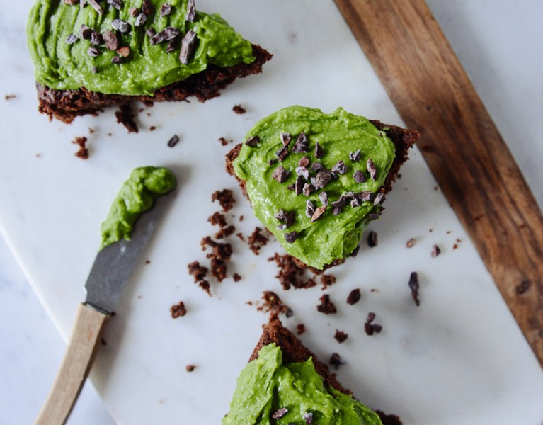 Chocolate Zucchini Cake with Matcha Frosting {Gluten Free}