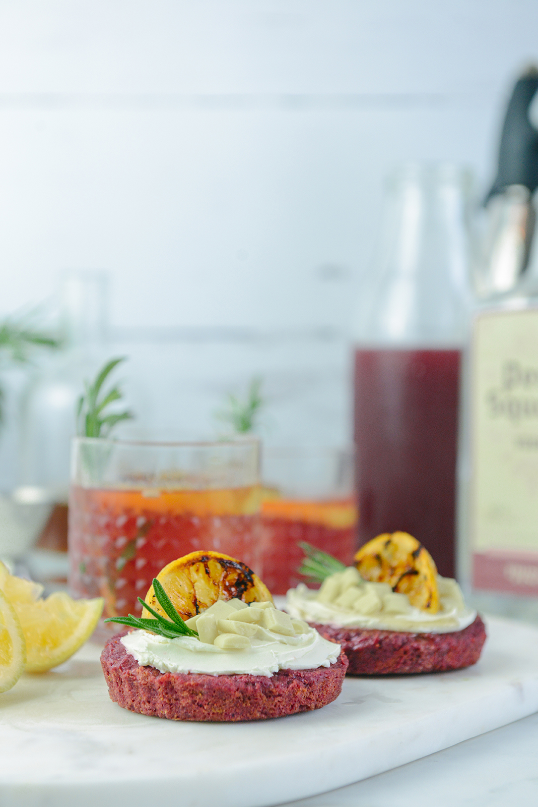 Grilled Lemon Rose Vodka Cocktails for Valentine's Day // www.WithTheGrains.com