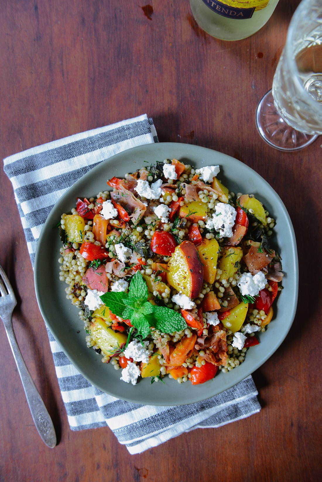 Peach Sorghum Salad with Crispy Prosciutto // www.WithTheGrains.com