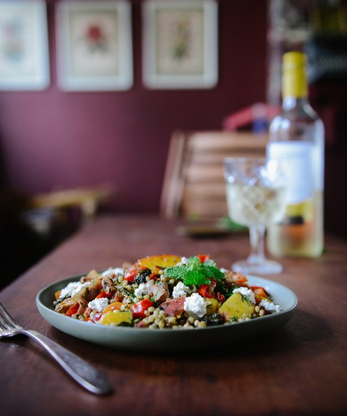 Peach Sorghum Salad with Crispy Prosciutto // www.WithTheGrains.com