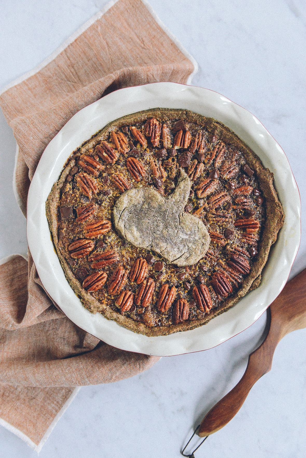 Gluten Free Pumpkin Pecan Pie (aka Pumpcan Pie) // www.WithTheGrains.com