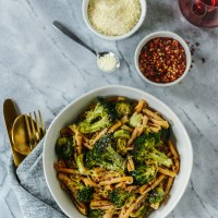 Garlic Butter Pasta with Roasted Broccoli & Brussels Sprouts