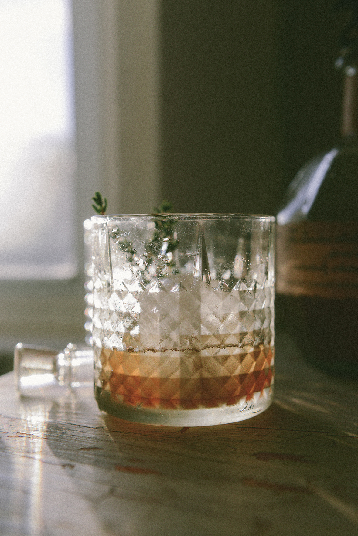 An Old Fashioned with an Infused Honey Simple Syrup // www.WithTheGrains.com