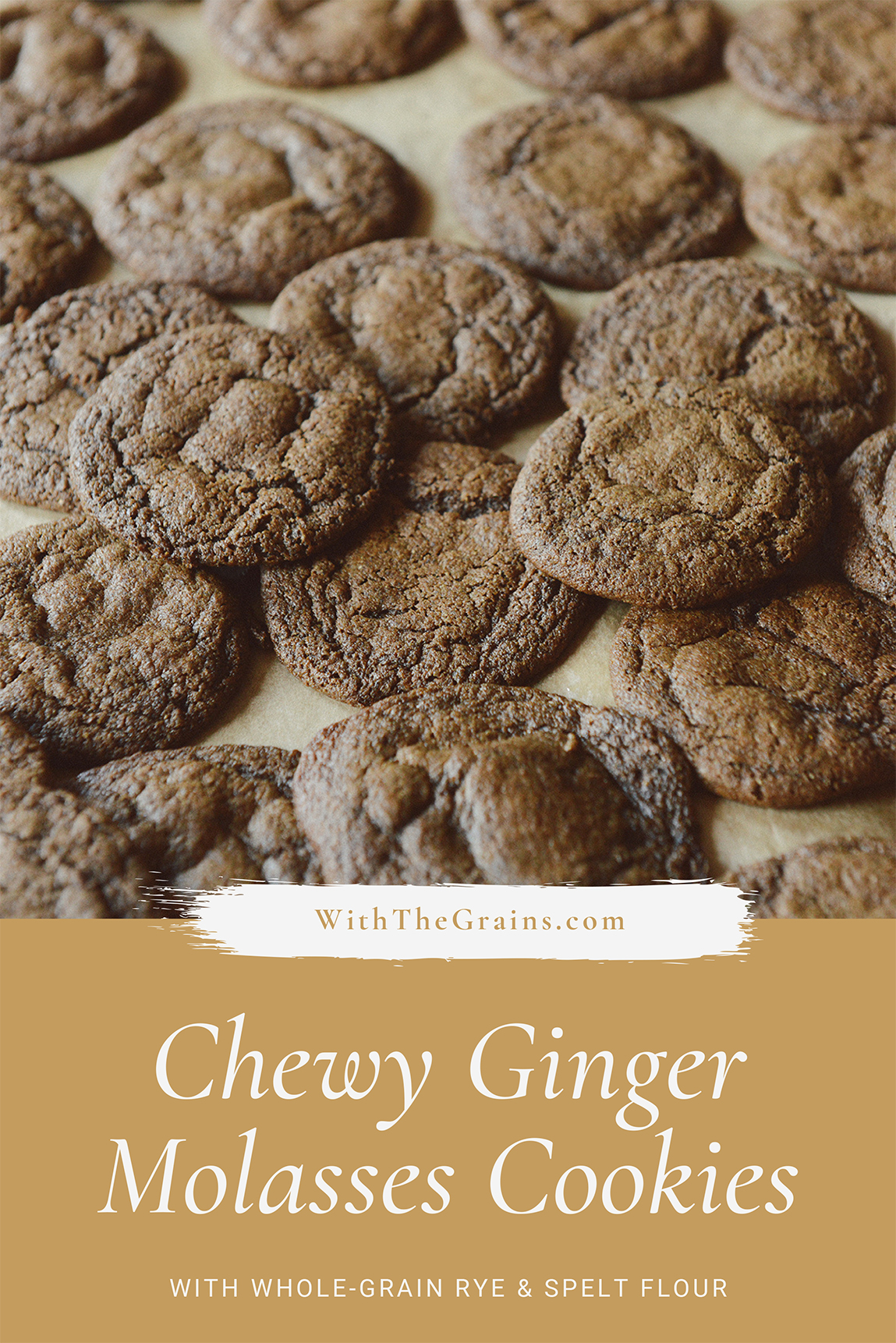 Whole Grain Ginger Cookies with Rye Flour // www.WithTheGrains.com