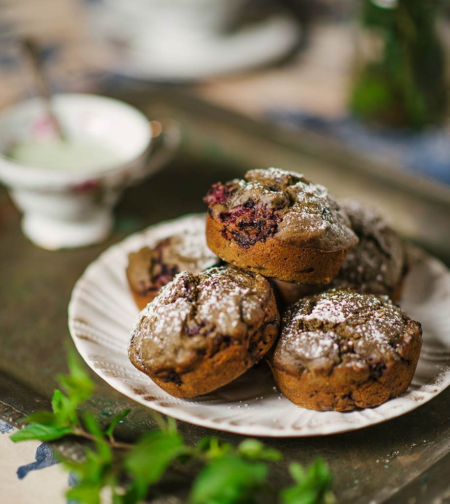 Blackberry Matcha Tea Cakes from The Gluten-Free Grains Cookbook // www.WithTheGrains.com