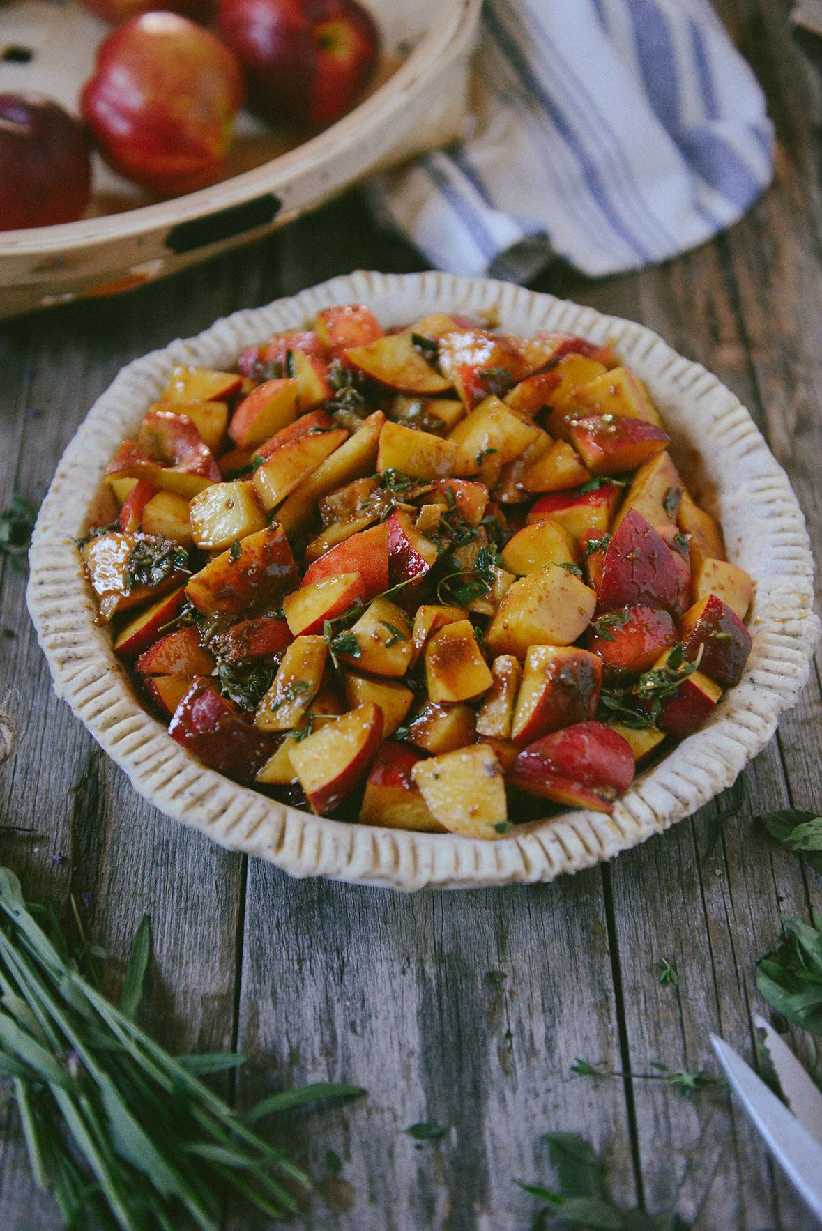 Summer Pie Filling: Nectarines & Garden Herbs // www.WithTheGrains.com