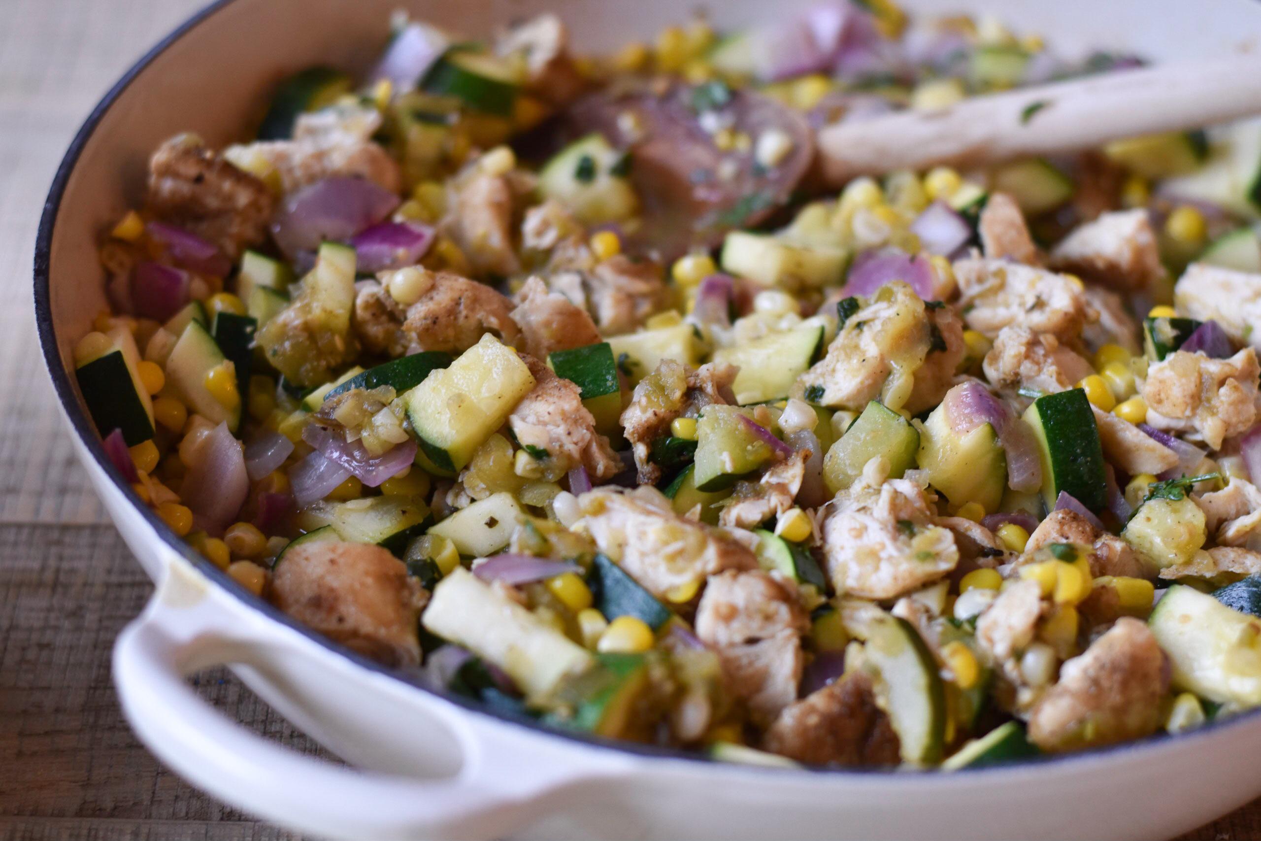 Sweet corn, zucchini, and chicken tostadas