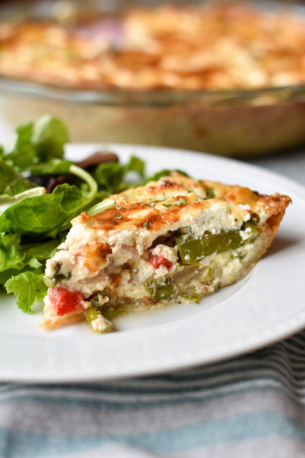 Asparagus, Goat Cheese, and Roasted Red Pepper Quiche