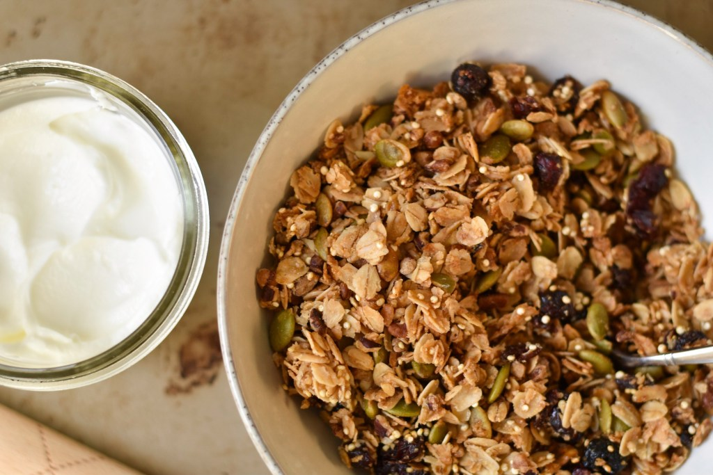 Maple Granola with Quinoa and Cranberries