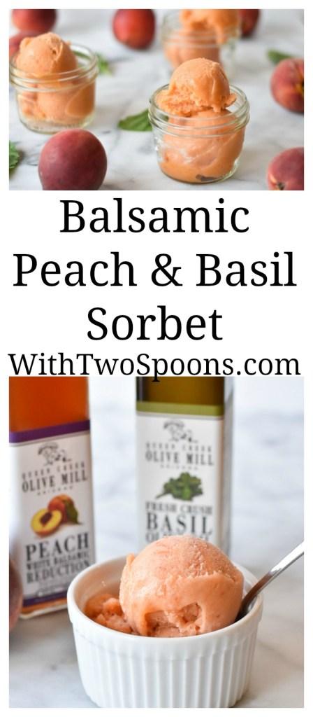 Balsamic Peach and Basil Sorbet