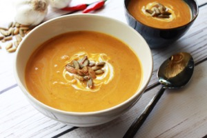A bowl of Easy Spiced Pumpkin Coconut Soup