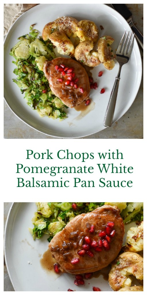 Pork Chops with Pomegranate White Balsamic Pan Sauce - With Two Spoons