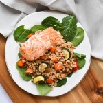 Farro Salad with Salmon and Roasted Vegetables