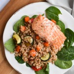 Farro Salad with Salmon and Roasted Vegetables vertical photo