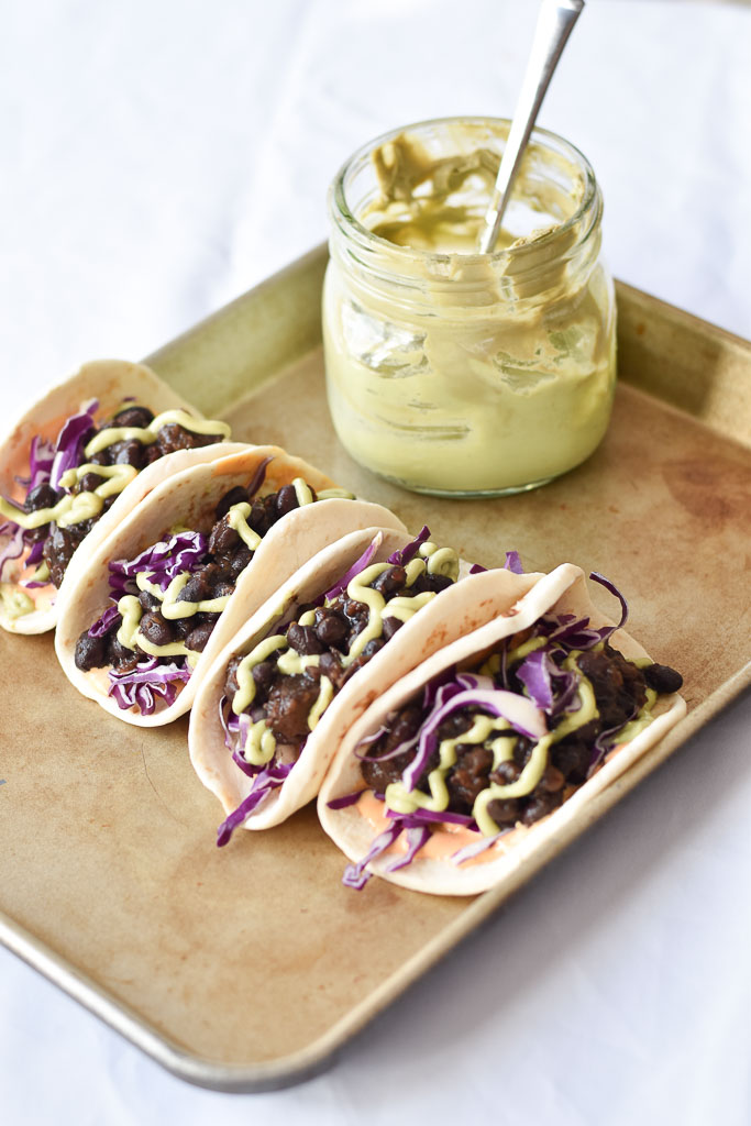 Instant Pot Black Bean Tacos with avocado crema