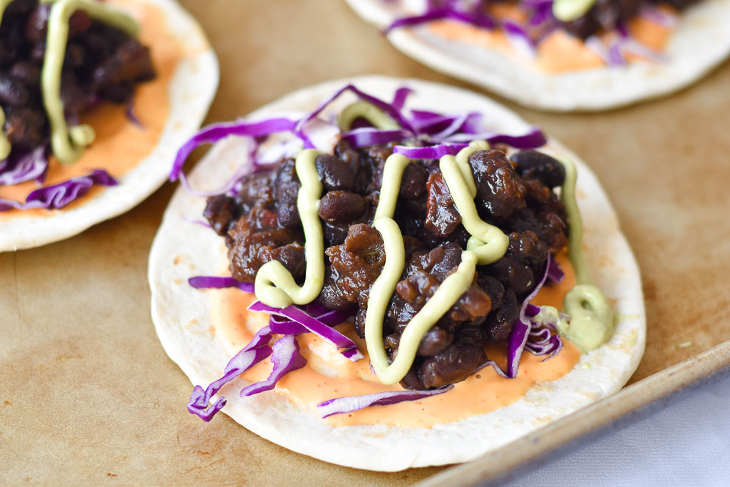 Instant Pot Black Bean Tacos close up from the side