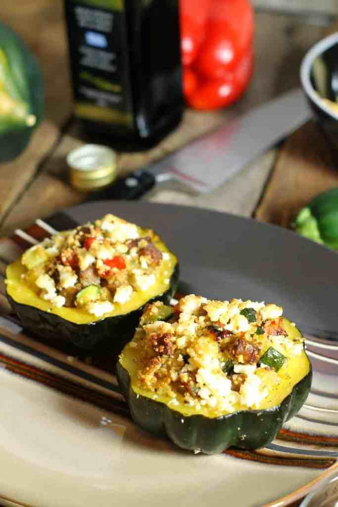 Quinoa Recipe Round Up Sausage and Quinoa stuffed acorn squash
