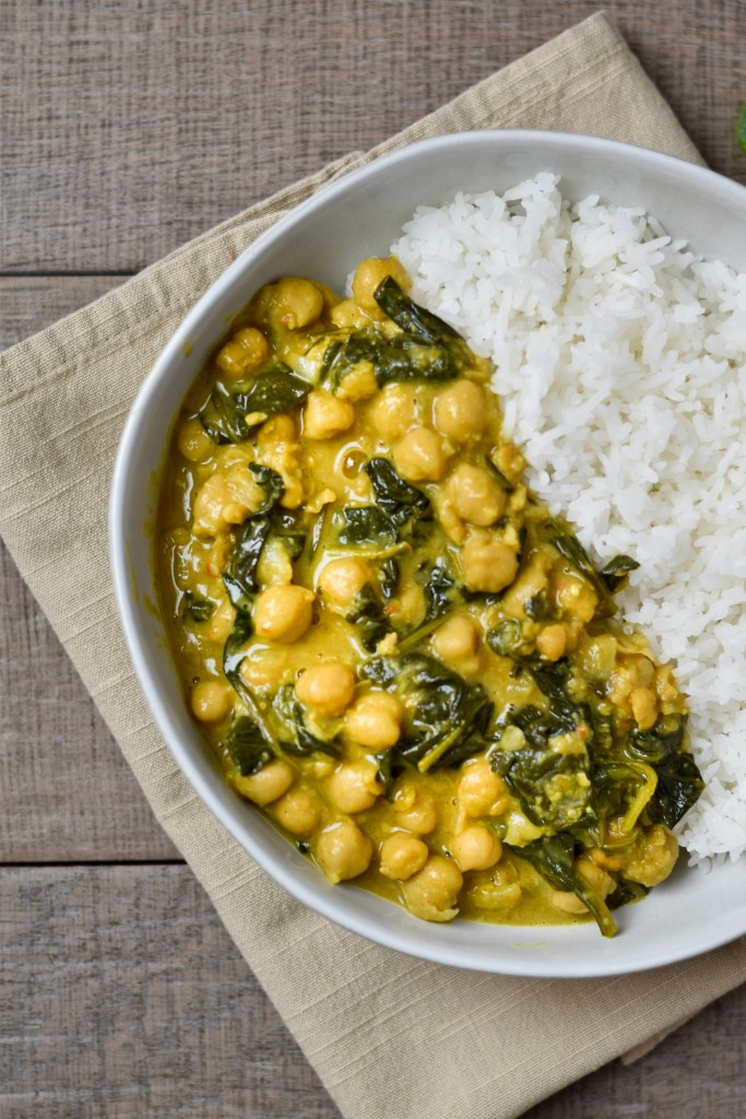Good Food Reads Instant Pot Back to School Coconut Curry Chickpeas partial bowl