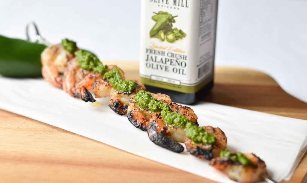 One Grilled Shrimp Skewers with Jalapeno Chimichurri on the shrimp