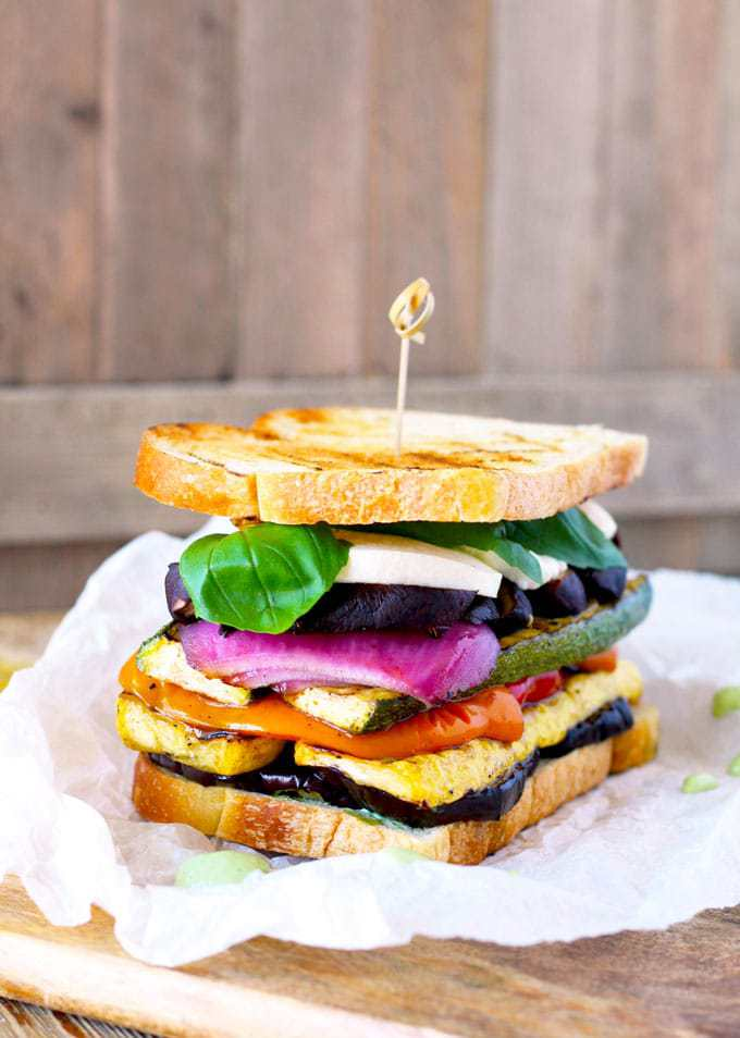 Grilled Vegetable Sandwich with Basil Aioli by Lemon Blossoms