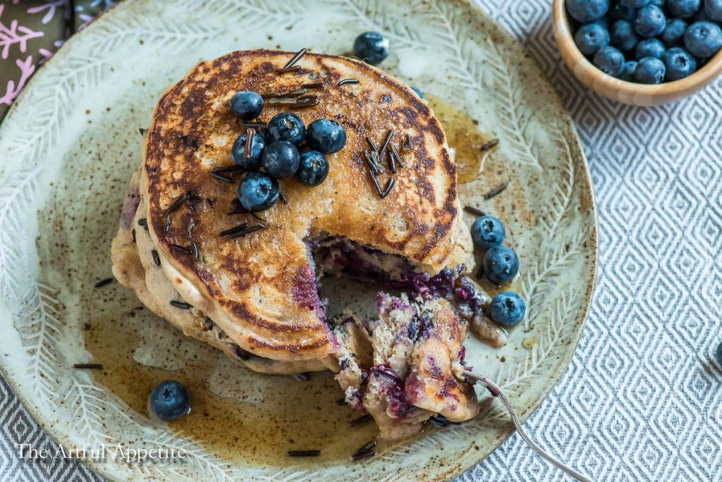 Vegan Blueberry Wild Rice Pancakes by The Artful Appetite. Minnesota Summer