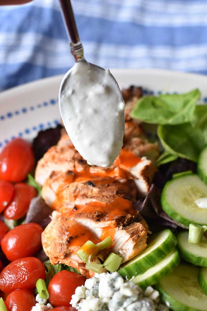 Grilled Buffalo Chicken Salad with homemade blue cheese dressing