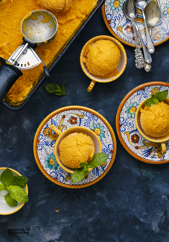 Homemade Mango Sorbet with Mint Leaves by Sandhya Hariharan. Popsicle and Sorbet Recipes