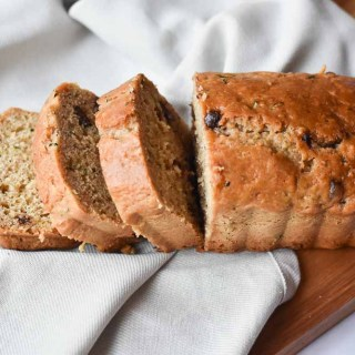 Chocolate Chip Zucchini Bread horizontal loaf with slices